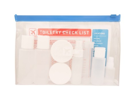 Clear bag for toiletries at the airport