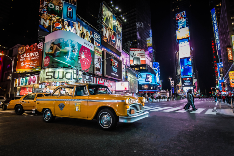 Yellow cab in Times Square, New York